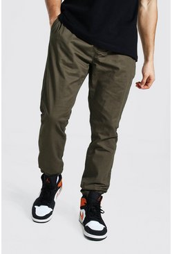 Khaki Regular Fit Cuffed Chino