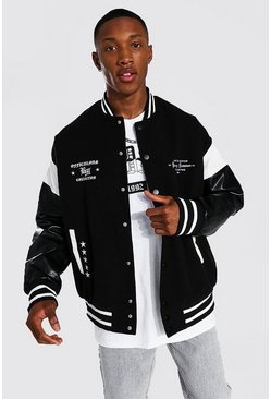Ofcl Arch Back Varsity Jacket, Black