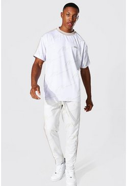 Ecru Oversize All Over Man Tee & Tricot Jogger Set