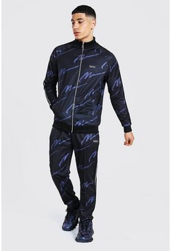 Black Repeat Man Funnel Neck Tape Tricot Tracksuit