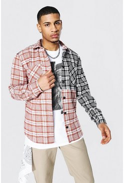 Brown Spliced Check Overshirt With Poppers