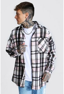 Light pink Oversized Large Flannel Overshirt