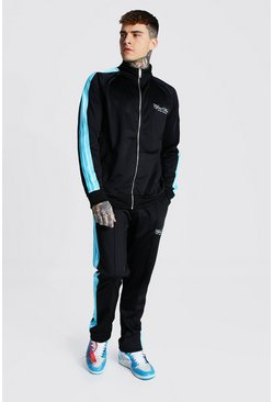 Black Man Funnel Neck Tricot Tape Tracksuit