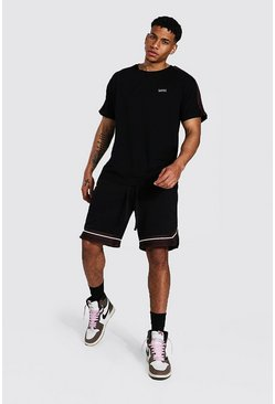 T-shirt et short basketball - MAN, Black