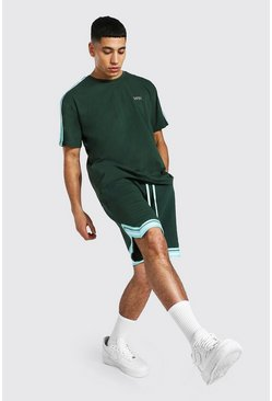 T-shirt et short basketball - MAN, Khaki