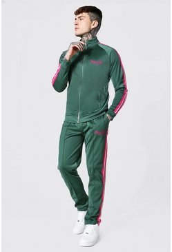 Green Man Funnel Neck Tricot Tape Tracksuit