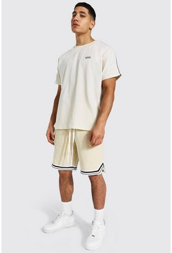 T-shirt à bande et short basketball - MAN, Sand