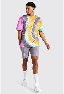 Multi Oversized Man Tape Tie Dye Tee And Short Set