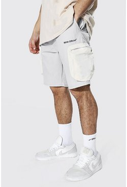 Light grey Man Crinkle Shell Colour Block Cargo Short