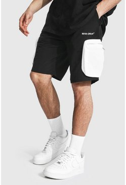 Black Man Crinkle Shell 3d Pocket Cargo Short