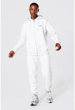 Ash grey Man Signature Zip Thru Tracksuit
