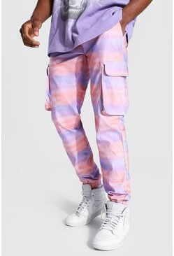 Pink Shell Printed Zip Pocket Cargo Trouser