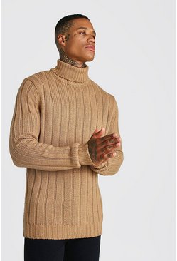 Mens Tan Ribbed Roll Neck Knitted Jumper