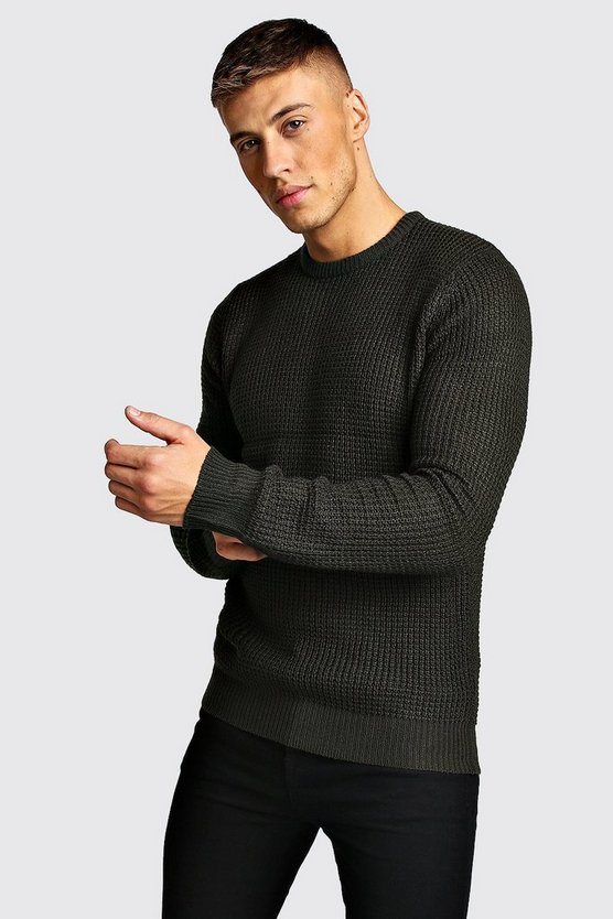 Mens Green Waffle Stitch Knitted Crew Neck Jumper