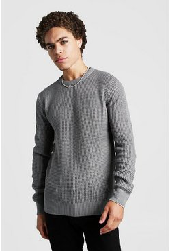 Mens Grey marl Waffle Stitch Knitted Crew Neck Jumper