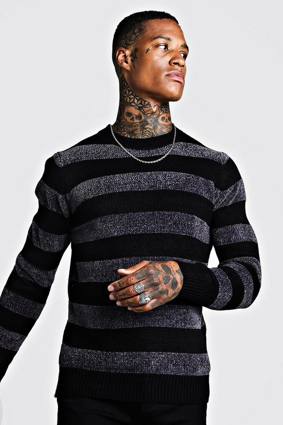 Mens Charcoal  Horizontal Stripe Chenille Knitted Jumper