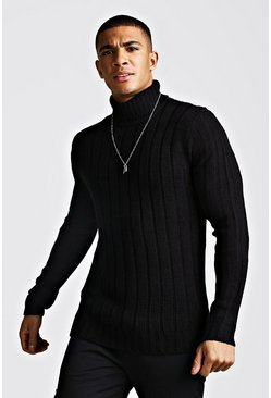 Mens Black Ribbed Roll Neck Knitted Jumper
