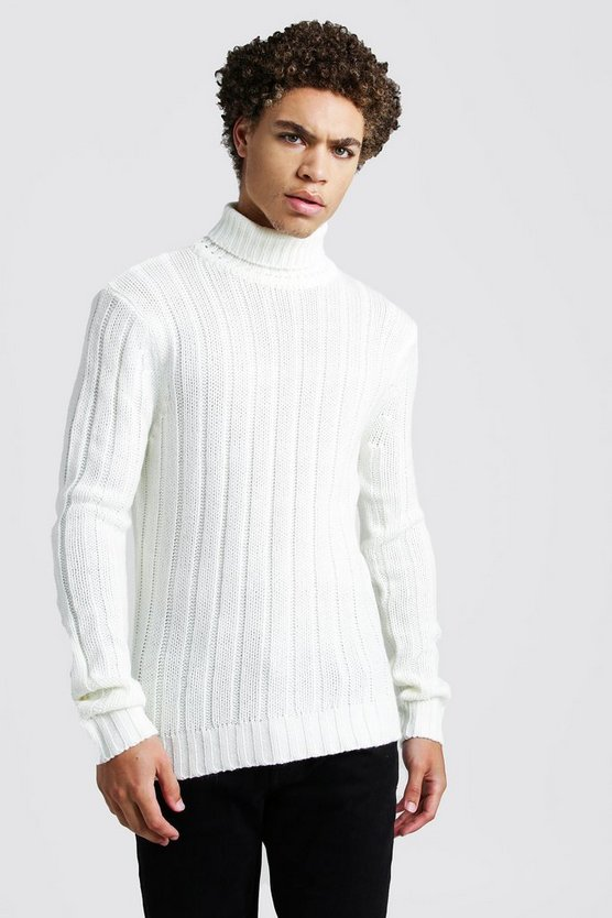 Mens White Ribbed Roll Neck Knitted Jumper