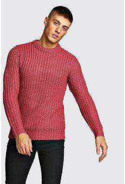 Pink Drop Shoulder Fisherman Stitch Knitted Jumper