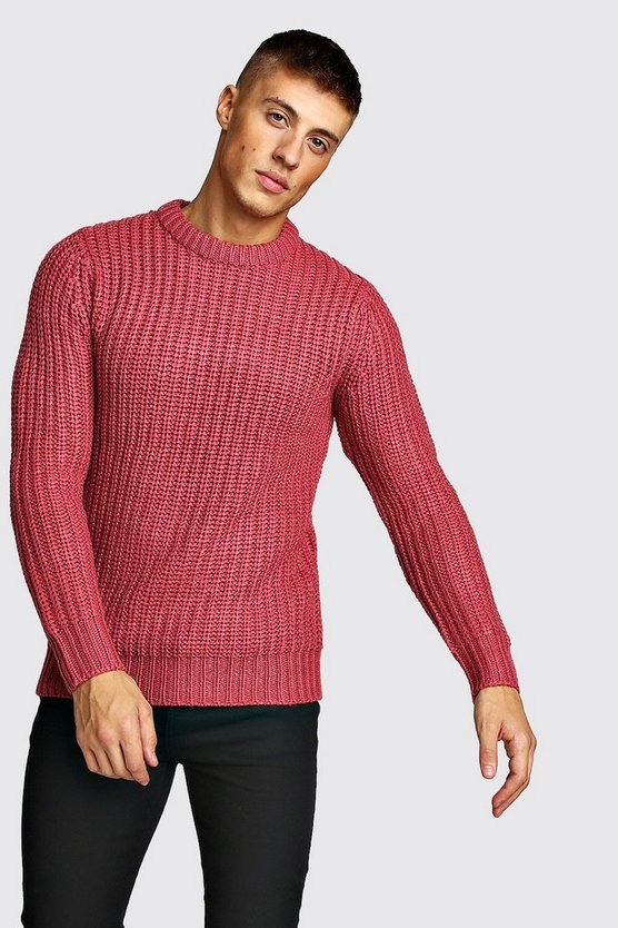 Mens Pink Drop Shoulder Fisherman Stitch Knitted Jumper