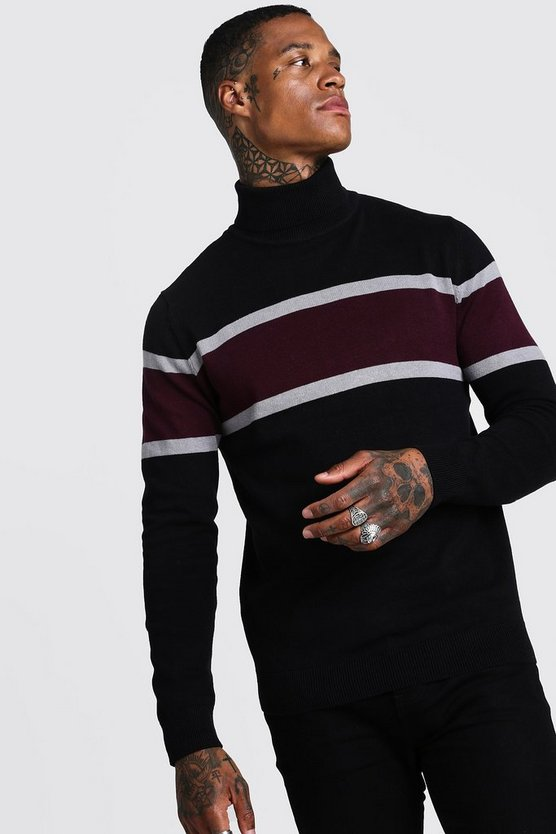 Mens Black Colour Block Roll Neck Knitted Jumper
