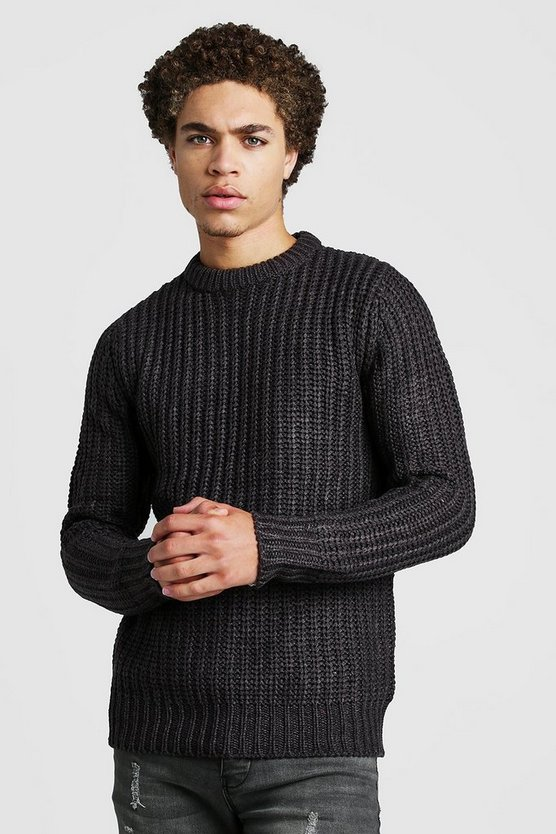 Mens Charcoal Drop Shoulder Fisherman Knitted Jumper