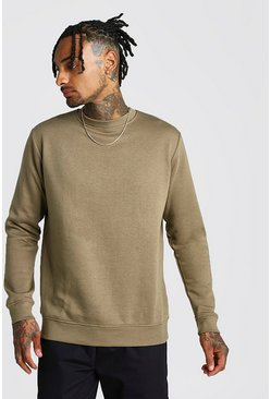 Khaki Basic Crew Neck Fleece Sweatshirt