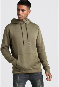Mens Khaki Basic Over The Head Fleece Hoodie