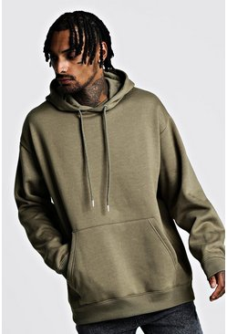 Mens Khaki Fleece Oversized Over The Head Hoodie