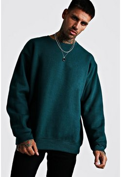 Mens Teal Fleece Oversized Sweatshirt