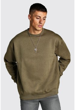 Mens Khaki Fleece Oversized Sweatshirt