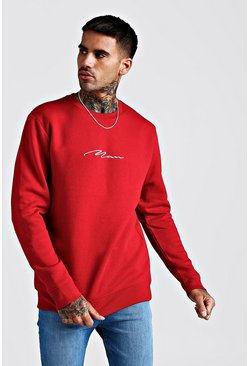 Red MAN Signature Crew Neck Fleece Sweatshirt