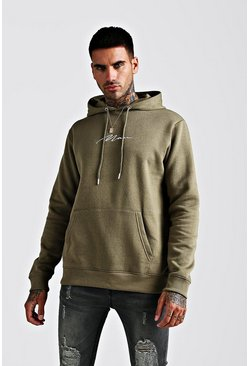 Mens Khaki MAN Signature Embroidered Hoodie