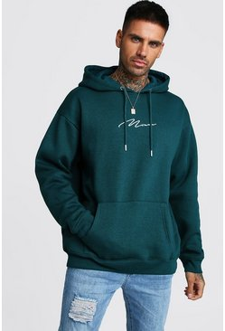 Teal MAN Signature Oversized Over The Head Hoodie