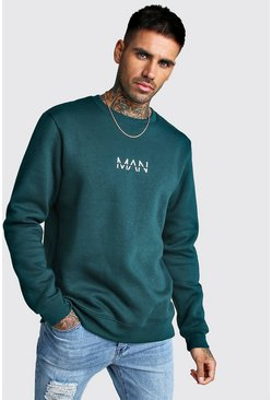 Mens Teal Original MAN Print Sweater