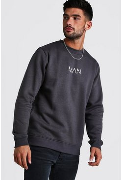 Mens Charcoal Original MAN Print Sweater