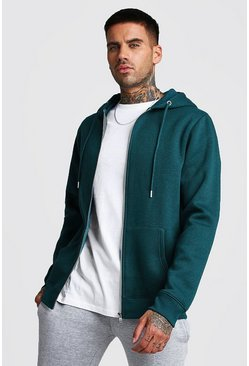 Mens Teal Zip Through Fleece Hoodie