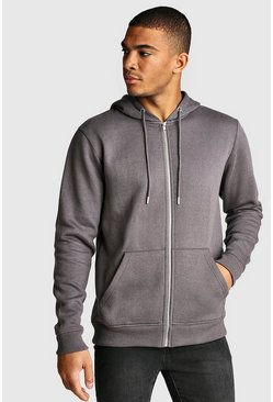 Mens Charcoal Zip Through Fleece Hoodie