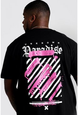 Black Plus Size Paradise Graffiti Print T-Shirt