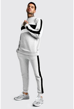 Mens Grey marl Sweater Tracksuit With Colour Block Side Panel