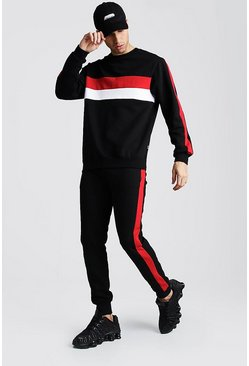 Mens Black Sweater Tracksuit With Colour Block Side Panel