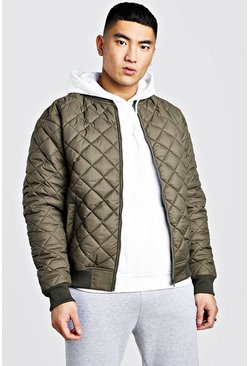 Khaki Nylon Diamond Quilted Bomber