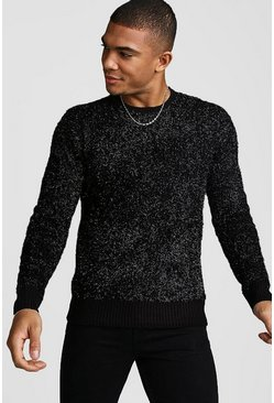Black Crew Neck Metallic Knitted Jumper