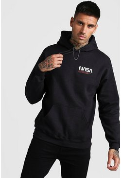 Mens Black NASA License Front & Back Print Hoodie