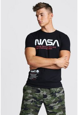 Mens Black NASA License Chest Print T-Shirt
