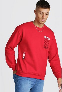 Mens Red NASA License Print Sweatshirt