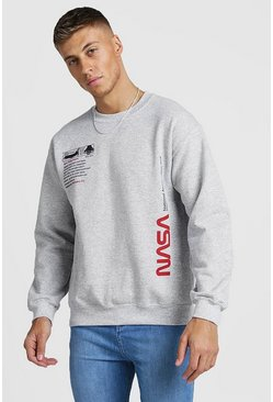Mens Grey NASA License Label Print Sweatshirt
