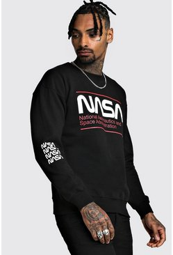 Mens Black NASA License Sweatshirt