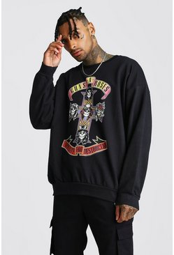 Mens Black Guns & Roses Sweatshirt