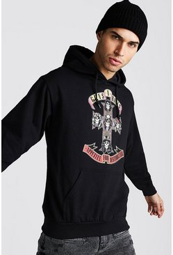 Black Loose Fit Guns & Roses License Hoodie